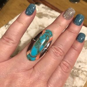 Jewelry - Vtg rare turquoise coral inlay sterling ring